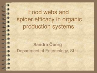 Food webs and  spider efficacy in organic production systems