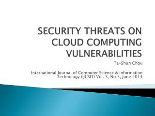SECURITY THREATS ON CLOUD COMPUTING VULNERABILITIES