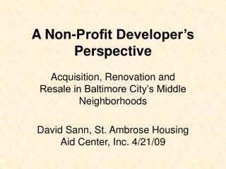 A Non-Profit Developer's Perspective