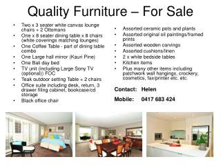 Quality Furniture – For Sale