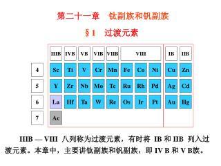IIIB — VIII   八列称为过渡元素,有时将 IB  和  IIB   列入过渡元素。本 章中,主要讲钛副族和钒副族,即  IV B  和  V B 族。