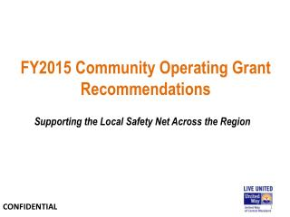 FY2015 Community Operating Grant Recommendations