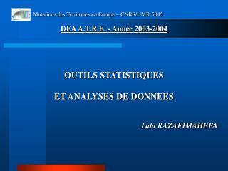 OUTILS STATISTIQUES ET ANALYSES DE DONNEES