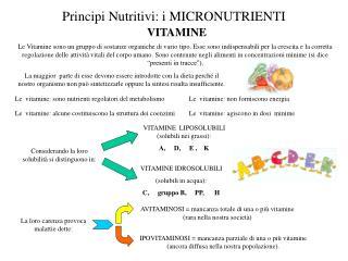 Principi Nutritivi: i MICRONUTRIENTI