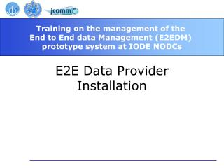 E2E Data Provider Installation