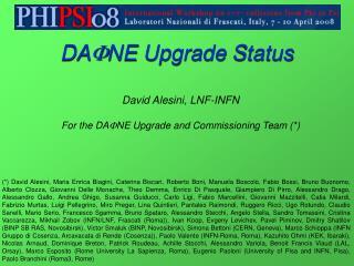 DAFNE Upgrade Status