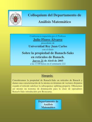 Conferencia impartida por el Profesor  Julio Flores Álvarez procedente de
