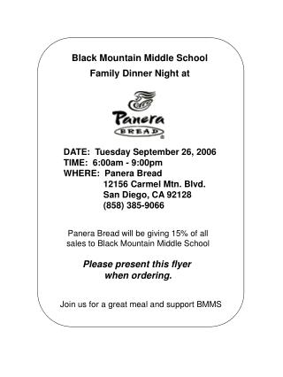 Black Mountain Middle School Family Dinner Night at
