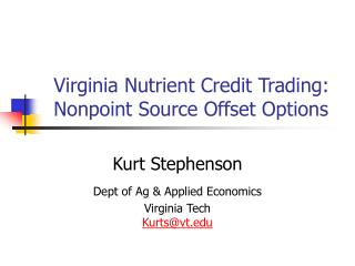 Virginia Nutrient Credit Trading: Nonpoint Source Offset Options