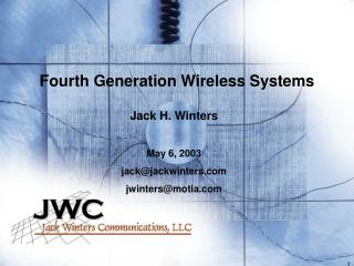 Fourth Generation Wireless Systems