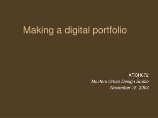 Making a digital portfolio