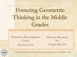 Fostering Geometric Thinking in the Middle Grades