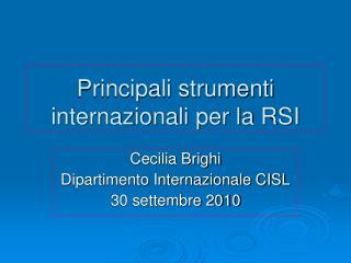 Principali strumenti internazionali per la RSI