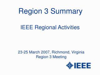 Region 3 Summary