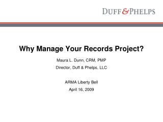 Why Manage Your Records Project