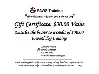 "PAWS Training "" Where learning is fun for you and your dog """