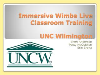 Immersive  Wimba  Live  Classroom Training UNC Wilmington