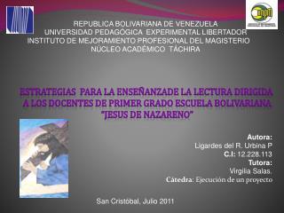 REPUBLICA BOLIVARIANA DE VENEZUELA UNIVERSIDAD PEDAG GICA  EXPERIMENTAL LIBERTADOR INSTITUTO DE MEJORAMIENTO PROFESIONAL