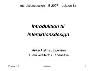 Introduktion til  Interaktionsdesign