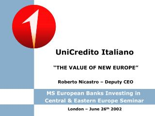 MS European Banks Investing in  Central & Eastern Europe Seminar