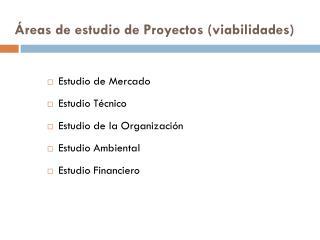 �reas de estudio de Proyectos (viabilidades)