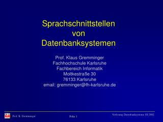 Sprachschnittstellen von Datenbanksystemen