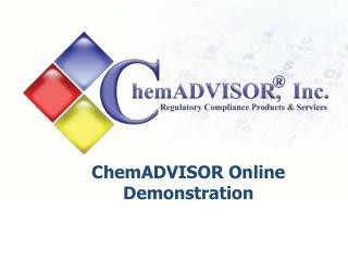 ChemADVISOR Online Demonstration