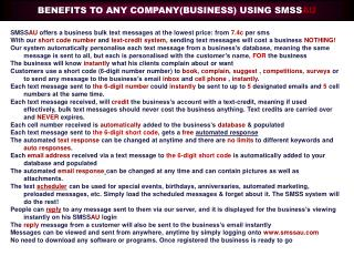SMSS AU  offers a business bulk text messages at the lowest price: from  7.4c  per sms
