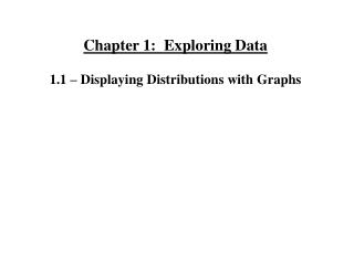 Chapter 1:  Exploring Data 1.1 – Displaying Distributions with Graphs