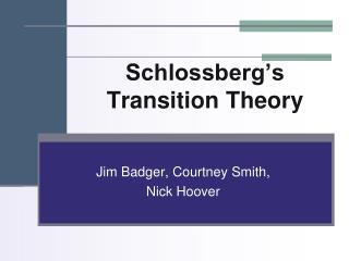 Schlossberg's Transition Theory