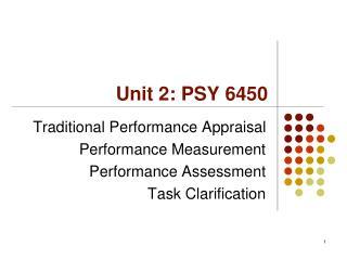 Unit 2: PSY 6450