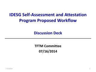 IDESG Self-Assessment and Attestation Program Proposed Workflow  Discussion Deck