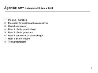 Agenda:  SSTT, København 20. januar 2011