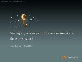 Strategie, gestione per processi e misurazione delle prestazioni