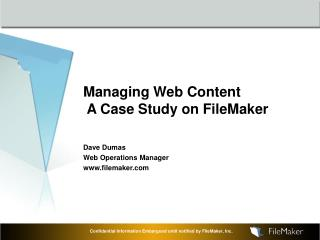 Managing Web Content   A Case Study on FileMaker