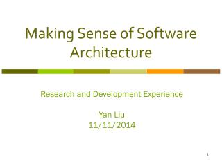 Making Sense of Software Architecture