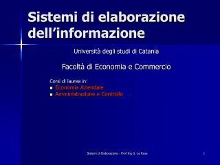 Sistemi di elaborazione dell'informazione