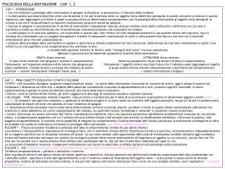 PSICOLOGIA DELLA MOTIVAZIONE   CAP. 1, 2