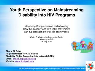 Youth Perspective on Mainstreaming Disability into HIV Programs