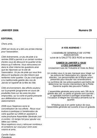 A VOS AGENDAS ! L�ASSEMBLEE GENERALE DE VOTRE ASSOCIATION suivie de la GALETTE DES ROIS se tiendra