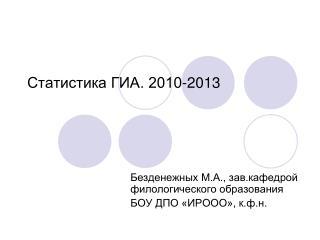 Статистика ГИА. 2010-2013