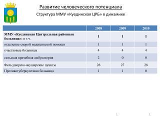 Структура ММУ «Куединская ЦРБ» в динамике