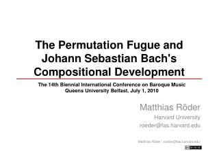 The Permutation Fugue and Johann Sebastian Bachs Compositional Development
