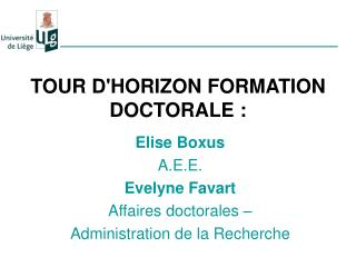 TOUR D'HORIZON FORMATION DOCTORALE :