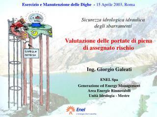 Esercizio e Manutenzione delle Dighe  -  15 Aprile 2003, Roma