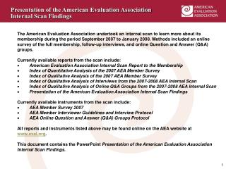 Presentation of the American Evaluation Association Internal Scan Findings