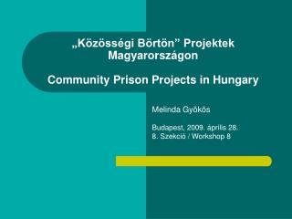 """Közösségi Börtön"" Projektek Magyarországon Community Prison Projects in Hungary"