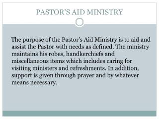 PASTOR S AID MINISTRY