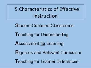 5 Characteristics of Effective Instruction
