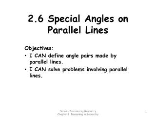 2.6 Special Angles on Parallel Lines